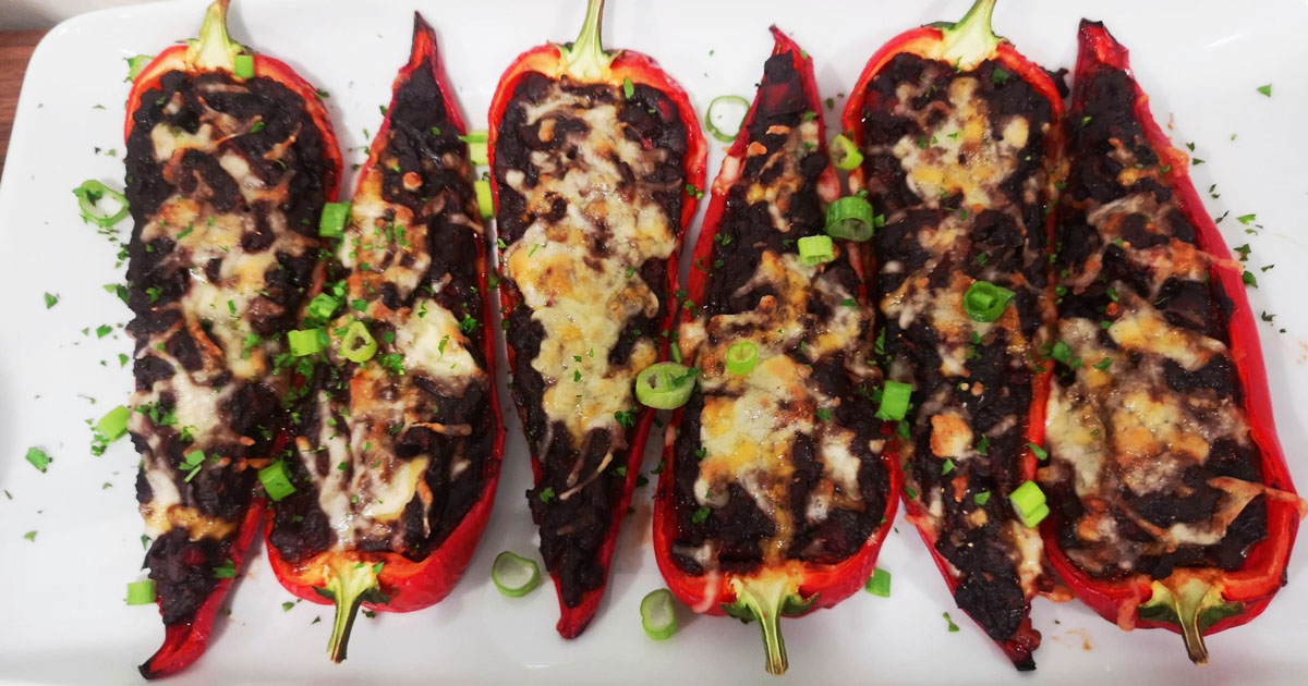Sweet red peppers, stuffed with chilli non carne made from Meatless Farm plantbased mince