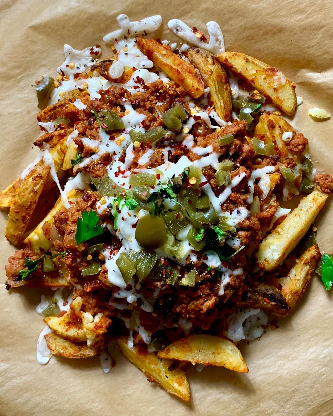 Chips, with Meatless Farm mince, topped with melted cheese