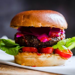 Meatless Farm plant-based Indian burger