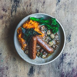 Meatless Farm Bangers and Mash