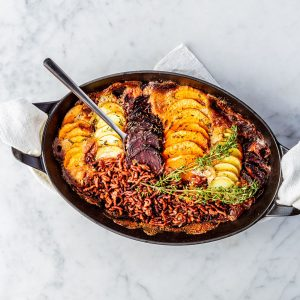 Meatless Gratin with sweet potato, beetroot and potato