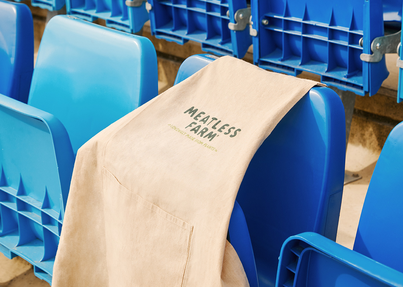 Meatless Farm shirt on Real Madrid stadium seats