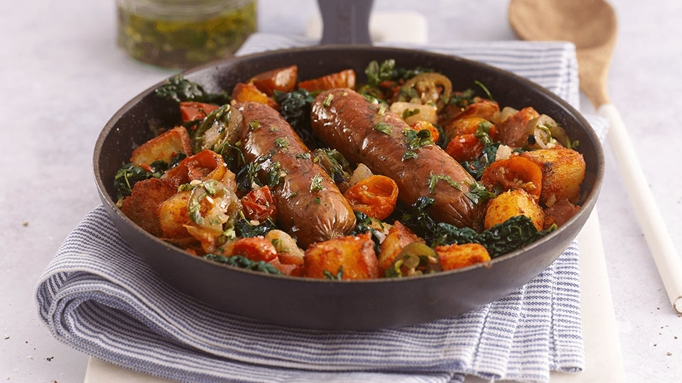 Meatless Dijon Glazed Sausage Casserole recipe