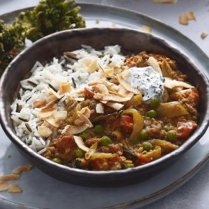 Meatless Keema, curry leaf and coconut curry recipe