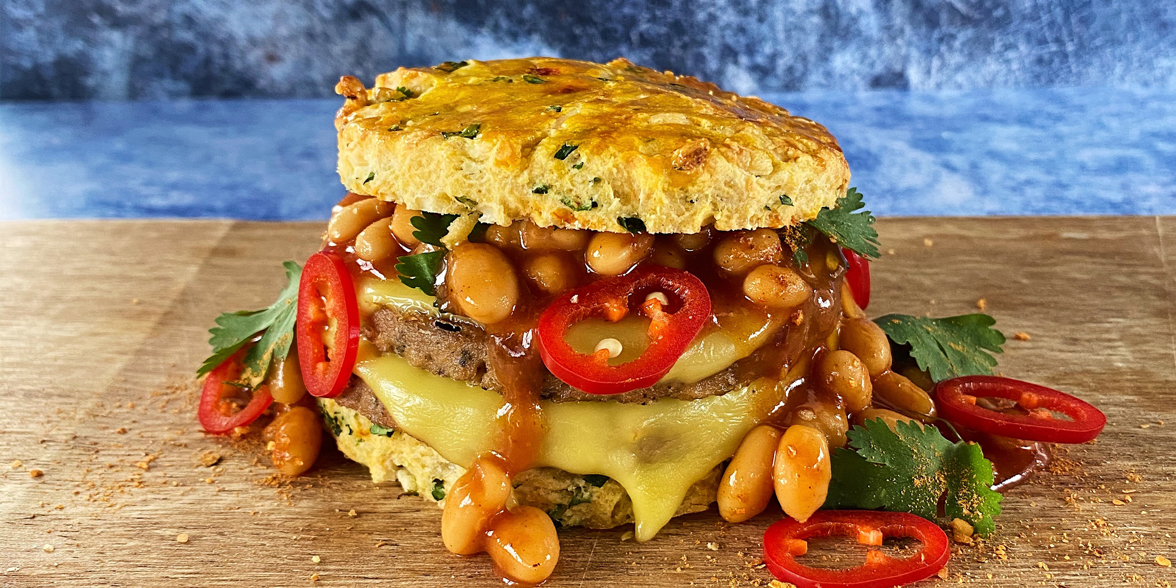 Meatless Farm Plant-based Sausage Pattie, Cheddar & Jalapeno scones, smokey beans, spinach
